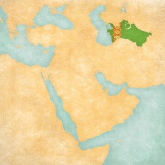 Map of Middle East - Turkmenistan