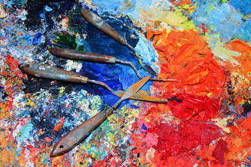 A painter's palette in his workshop