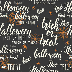 Halloween seamless pattern with web, spider  and hand made lettering on black. Pattern can be used for wallpaper, web page background, surface textures.