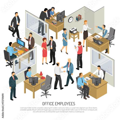 employees in office design concept fichier vectoriel libre de droits sur la banque d 39 images. Black Bedroom Furniture Sets. Home Design Ideas