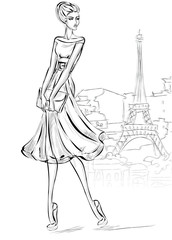 Sketch style fashion woman near Eiffel tower in Paris, beautiful girl at city background vector illustration