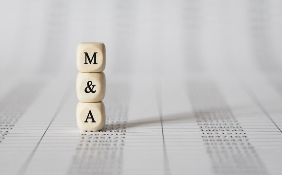 Word M AND A made with wood building blocks
