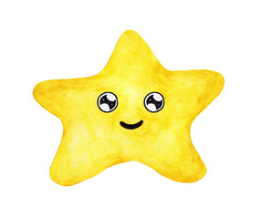 Hand painted watercolor of yellow star face isolated on white background. Smile cute funny emotion face.