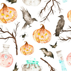 This halloween seamless pattern included magic cauldron,potion bottles,bats,ravens,spider,branches and crazy pumpkin.This pattern perfect for wallpapers,cover design,print.
