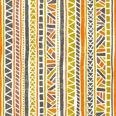 Seamless striped pattern. Ethnic and tribal motifs. Vintage print, grunge texture.Simple ornament. Handmade. Orange, green, gray and white colors.