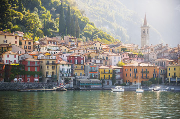 Houses by Lake Como in town