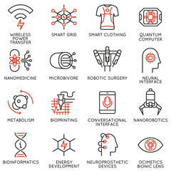 Vector set of 16 thin linear icons related to innovation in technology and medicine. New inventions to improve human life. Mono line pictograms and infographics design elements