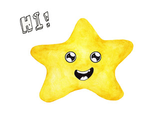 Hand painted watercolor of yellow star face say Hi isolated on white background. Smile cute funny emotion face.