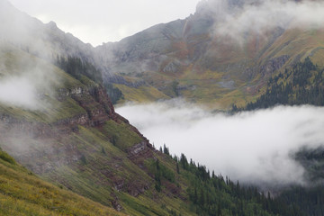 High angle view of San Juan Mountains during foggy weather