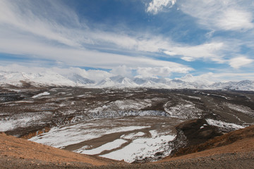 High angle view of mountains against cloudy sky at Denali National Park