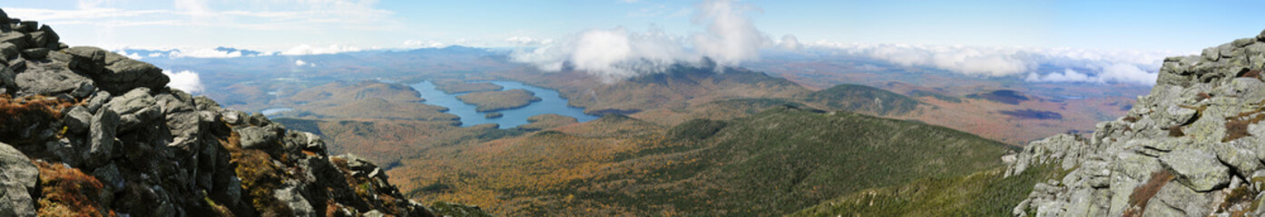 Lake Placid panorama view from top of Whiteface Mountain in fall, Adirondack Mountains, New York State, USA