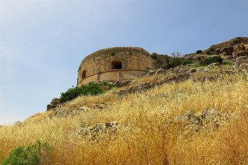 Spinalonga Island, Crete, Greece abandoned tower of former leper colony