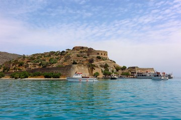 Spinalonga Island, Crete, Greece abandoned leper colony viewed from the sea
