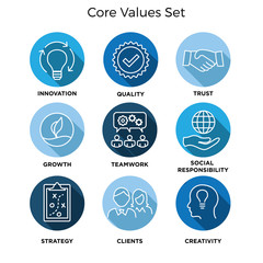 Core Values - Mission, integrity value icon set with vision, honesty, passion, and collaboration as the goal or focus