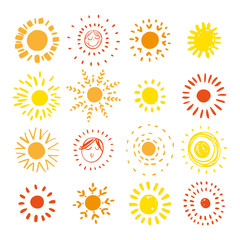 Hand drawn sun. Sun icon. Stylized sun. Vector Illustration.