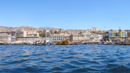 Valparaiso's port and cityscape viewed from the  water