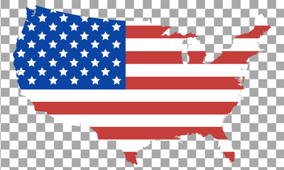 Wall Mural - USA flag map isolated on transparent background
