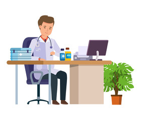 Character medical doctor. Healthcare and medical help. Doctor's office.