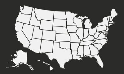 Wall Mural - USA map isolated on a black background. United States of America background. American map