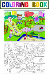 Childrens playground coloring. Vector illustration of black and white