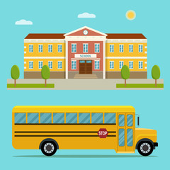 School building and bus isolated. Flat style vector illustration.