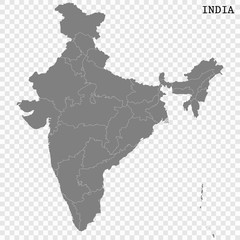 High quality map of India with borders of regions