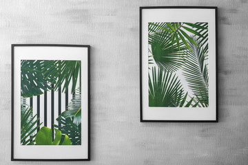 Framed pictures of tropical leaves on grey background