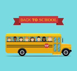 Kids ride to school. School bus with smiling Faces in windows. Vector flat illustration.