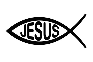 Jesus fish symbol. Sign of the fish, a symbol of Christian art with letters JESUS. Symbol consisting of two intersecting arcs, also ichthys or ichthus, Greek word for fish. Black illustration. Vector.