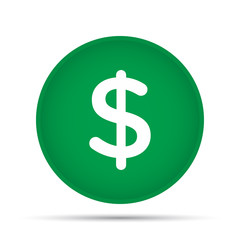 Dollar icon on a circle on a white background. Vector illustration