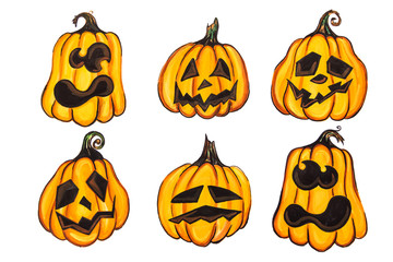 Six pumpkins with different emotions painted on white paper. Isolated.