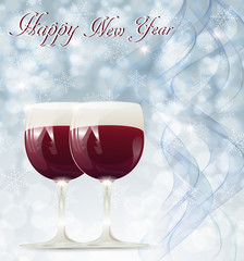 Christmas card with glasses of wine