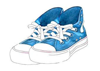 Hand drawn illustration with shoes. Hipster sneakers in hand drawn composition.  sketch with sneakers sneakers on white background. Run Concept