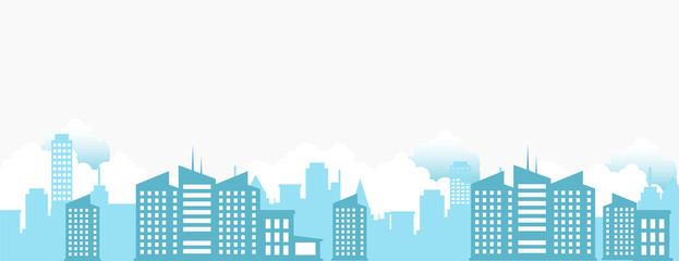 Cityscape with clouds and sky isolated white background illustration.Main silhouette building background.landscape of town.modern city and urban scene.