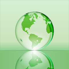 Green shining transparent earth globe with South and North America continents laying on glass surface and reflecting in it. Bright and shining design. Vector illustration.