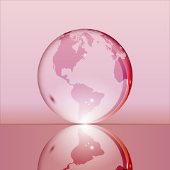 Pink shining transparent earth globe with South and North America continents laying on glass surface and reflecting in it. Bright and shining design. Vector illustration.