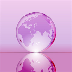 Purple shining transparent earth globe with Eurasia, Africa and Australia continents laying on glass surface and reflecting in it. Bright and shining design. Vector illustration.