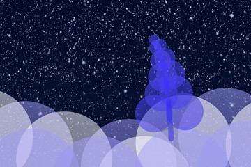Christmas landscape with an ornamental tree with circles and snowfall at dawn can be used as background