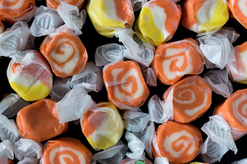 Halloween candy taffy in assorted colors top view