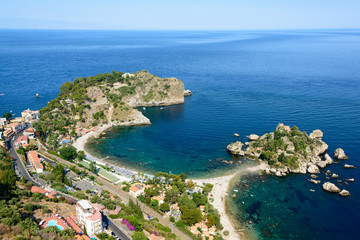Taormina Badebucht in Mazzaro und Isola Bella Fototapete