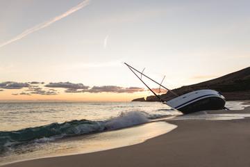 Schiffbruch am Strand von Mallorca Spanien
