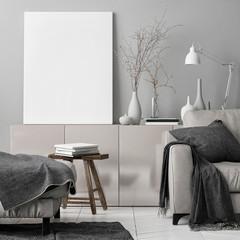 Mock up poster in living room, 3d illustration