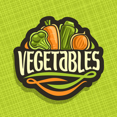 Vector logo for fresh Vegetables: sign with raw broccoli, ripe carrot, zucchini, farming onion on geometric background, vegetable mix for vegan nutrition, label with original font for word vegetables.