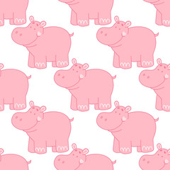 Seamless pattern with cute hippo on a white background. Pink hippopotamus.