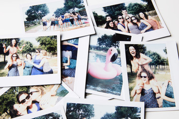 Instant shots of friends having fun in garden