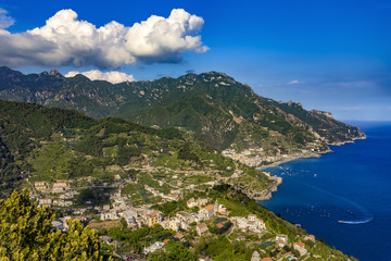 Italy. Amalfi Coast (UNESCO World Heritage Site since 1997) seen from Ravello. There is Maiori town in the background