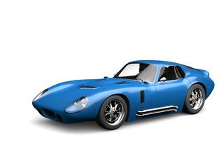 Sapphire blue vintage race car