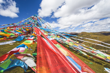 prayer flags on the mountain