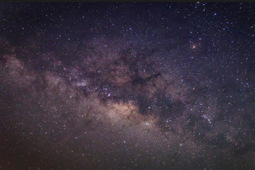 Milky way galaxy with stars and space dust in the universe, Long exposure photograph,with grain