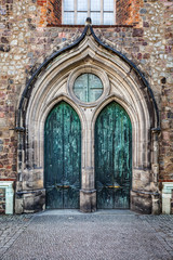 Neogothic Entrance with Two Copper Doors